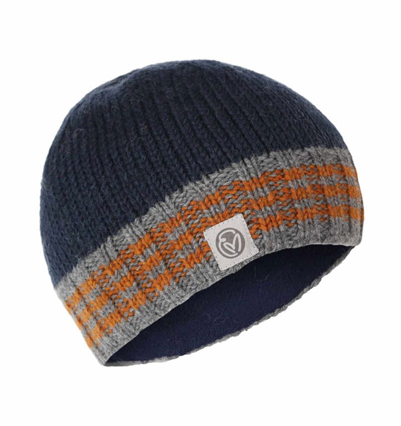 Hand knitted navy, grey and orange beanie