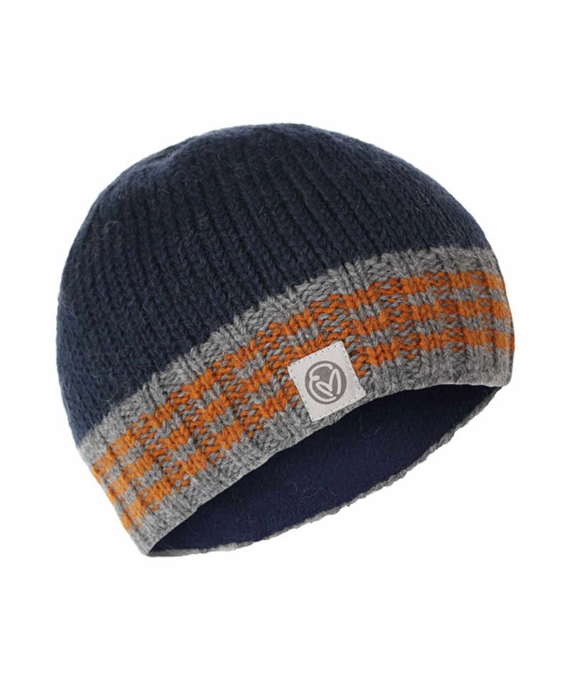 Hand knitted navy, grey and orange beanie
