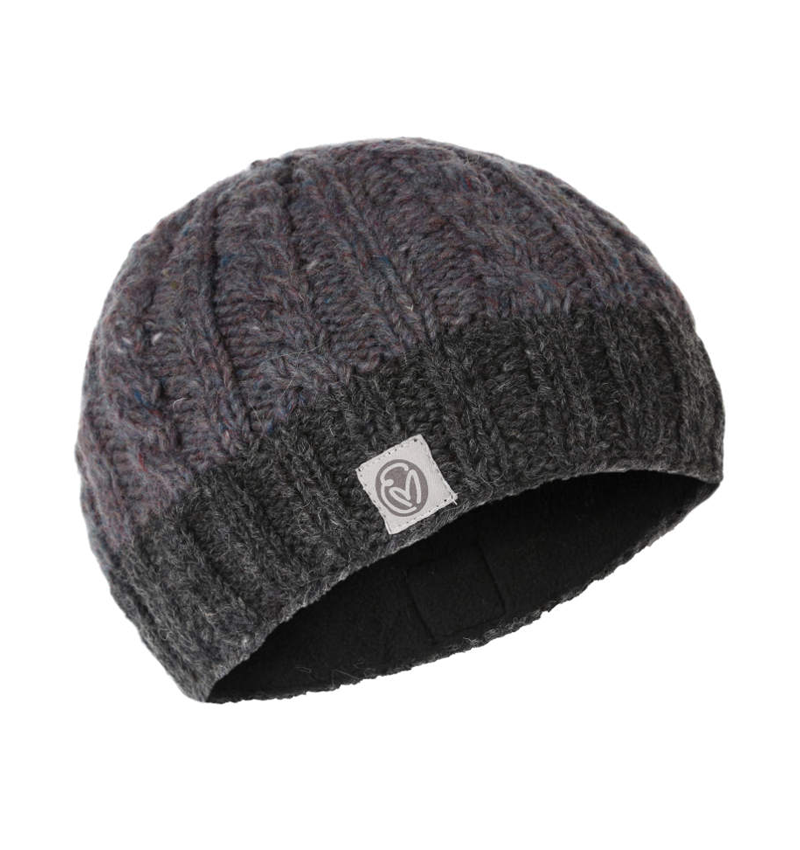 Recycled flecked wool hand knitted beanie
