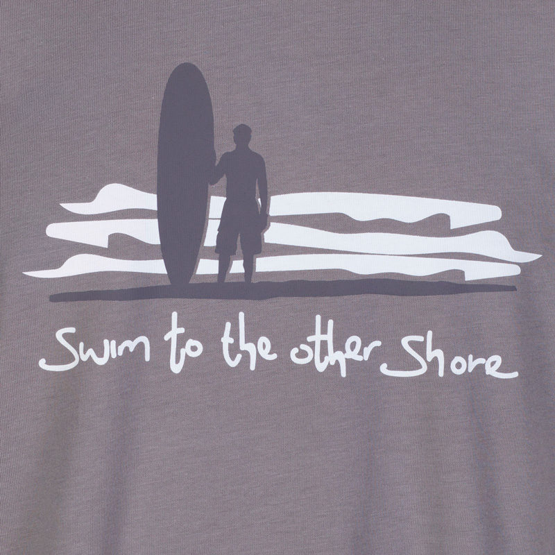 Detail of the dark grey and white Dhammapada inspired T-shirt 'swim to the other shore.'