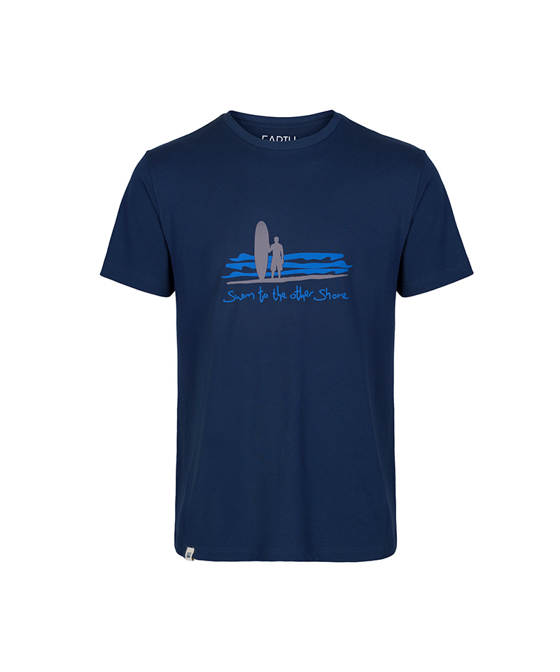The front of the navy T-shirt inspired by the Dhammapada called 'swim to the other shore.'
