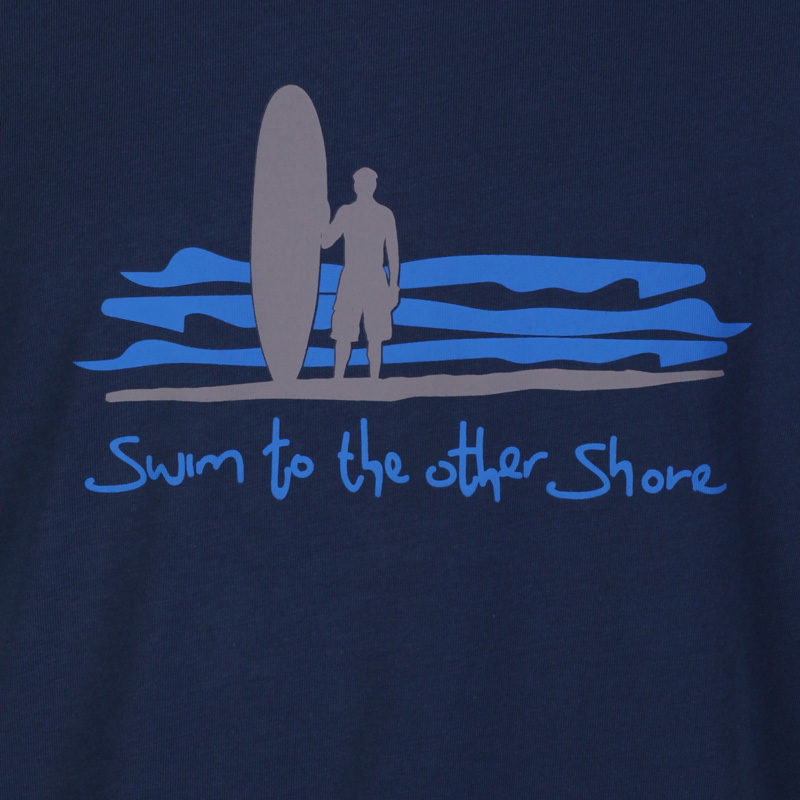 Detail of the grey and blue Dhammapada inspired T-shirt 'swim to the other shore.'