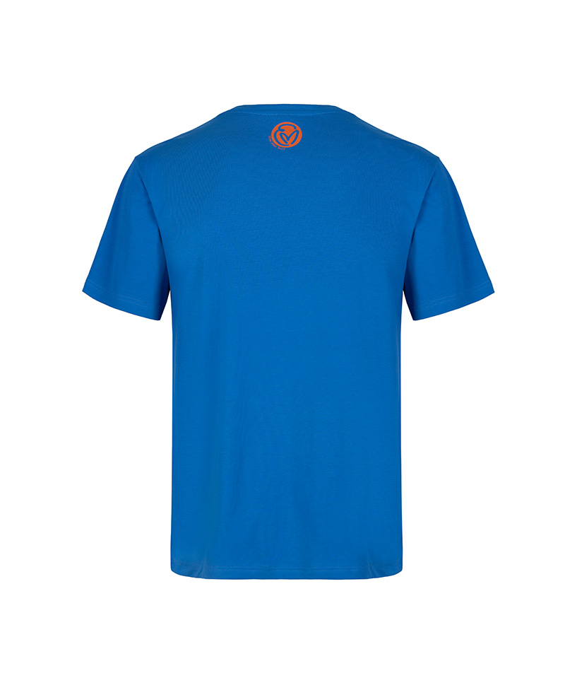 The back of the ultramarine T-shirt inspired by the Dhammapada called 'swim to the other shore.'