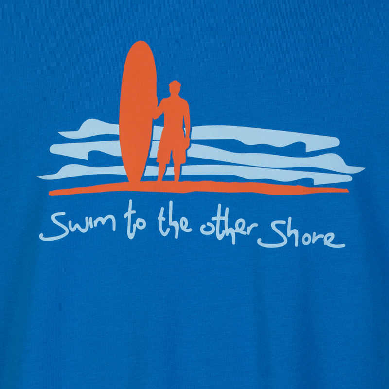 Detail of the orange and powder blue Dhammapada inspired T-shirt 'swim to the other shore.'