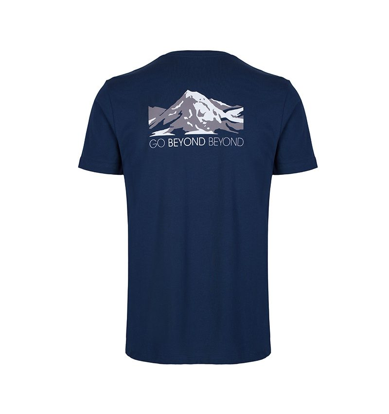 'Go Beyond Beyond' Heart Sutra inspired, navy T-shirt showing the face of Buddha layered within the snow capped mountains.