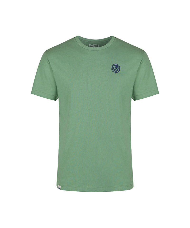 The front of the sage green, T-shirt with the navy and white surf and spiritual graphic that says 'one wave, one ocean.'