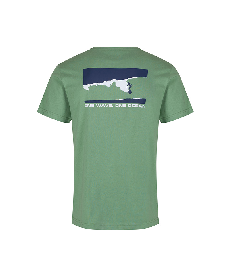 The sage green, T-shirt with the navy and white surf and spiritual graphic that says 'one wave, one ocean.'
