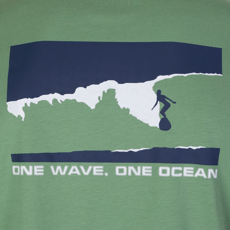 Close up of the sage green T-shirt with the navy and white surf and spiritual graphic that says 'one wave, one ocean.'