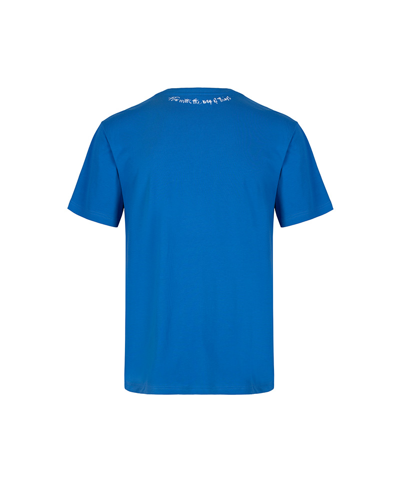 The back of the Lao Tze inspired ultramarine T-shirt, 'flow with the way of things.'