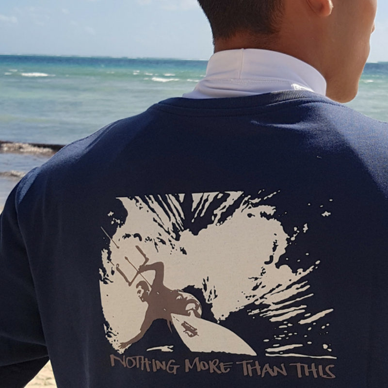 A kitesurfing and mindfulness T-shirt that says 'Nothing More than This'