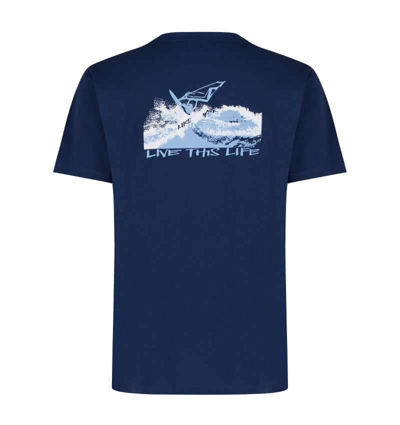 windsurfer and karma yoga navy, organic t-shirt