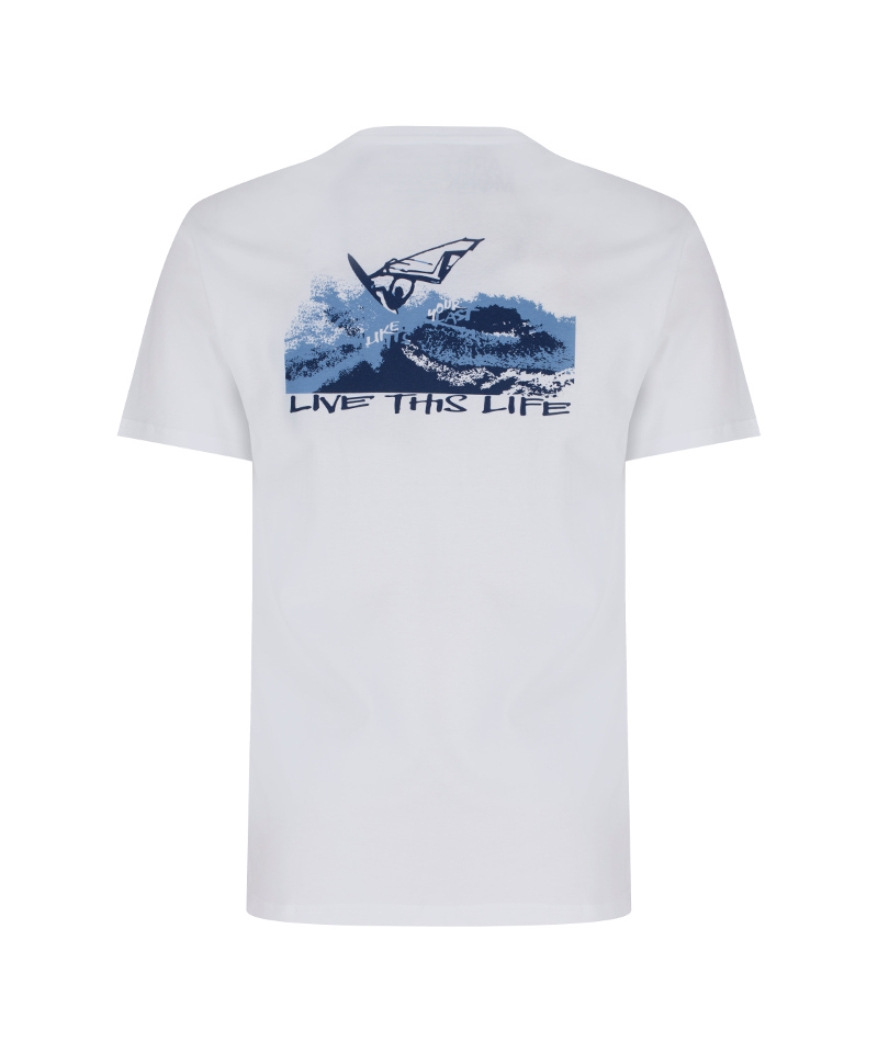 windsurfer and karma yoga white, organic t-shirt