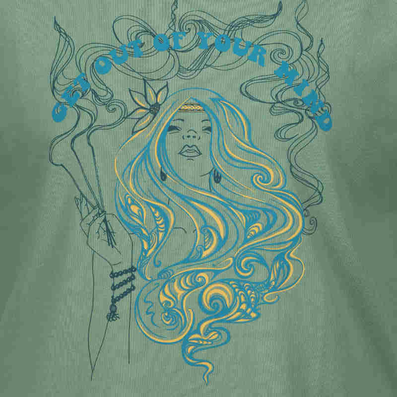 Summer of Love inspired sage green mindful t-shirt