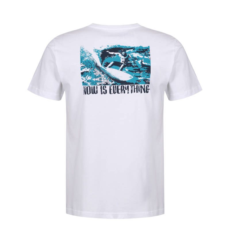 The graphic on the back of the surfing and mindfulness t-shirt, 'be here, now is everything.'