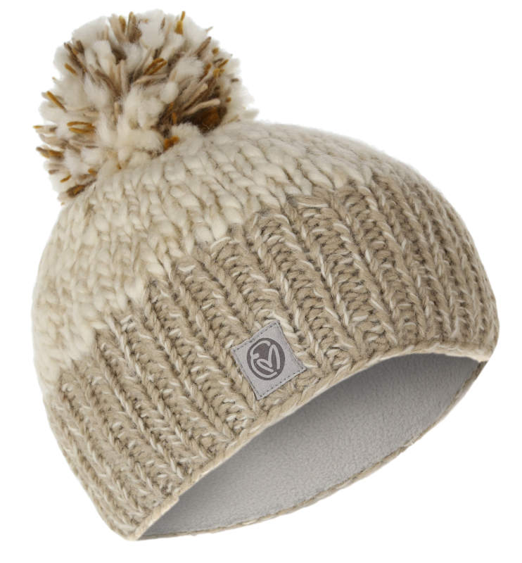Toffee and cream hand knitted beanie with blended wool pom pom