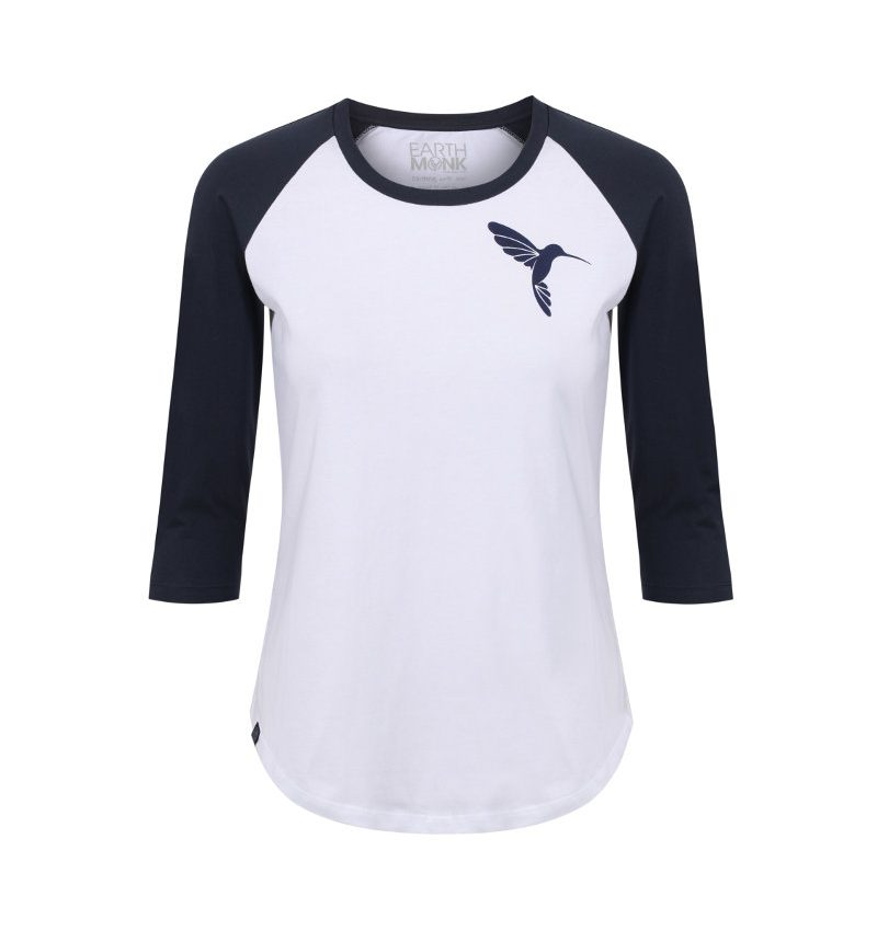 Hummingbird T-shirt navy and white raglan