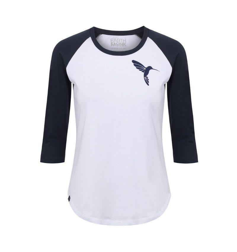 Hummingbird T-shirt navy and white raglan