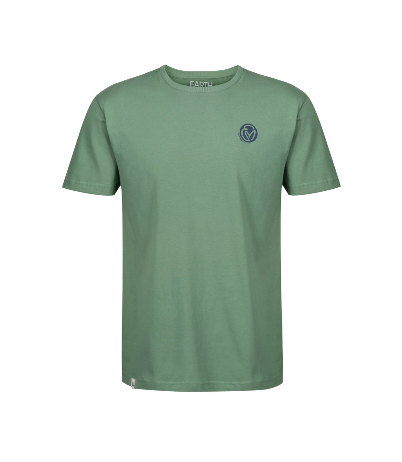 The front of the sage green, short sleeve T-shirt with a Mongolian style seal that says 'harmony.'