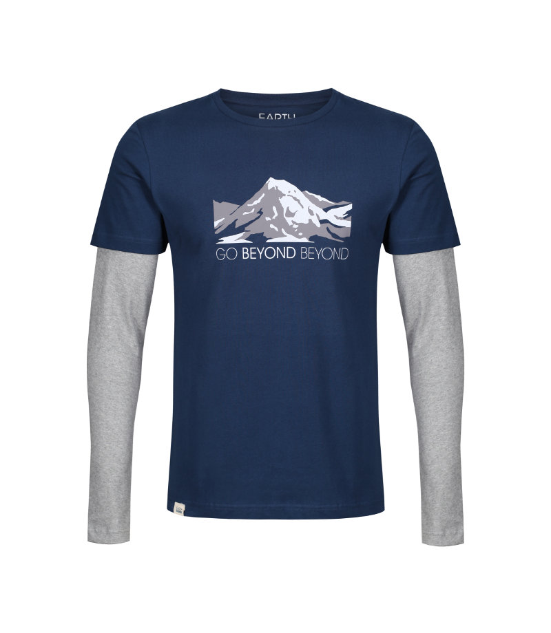 'Go Beyond Beyond' Heart Sutra inspired T-shirt showing the face of Buddha layered within mountains.