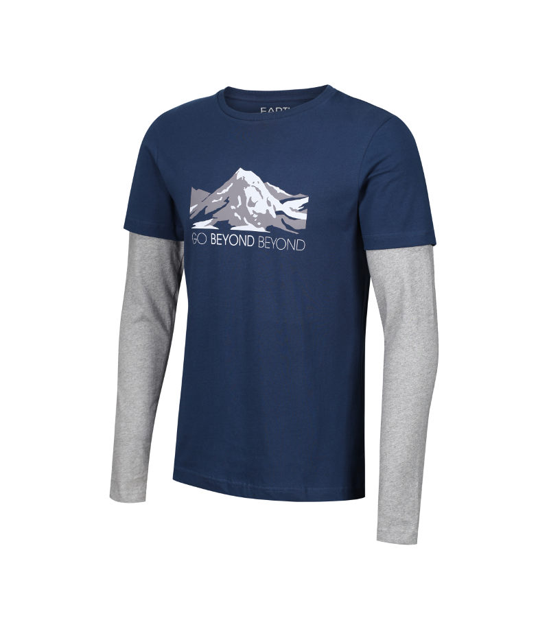 'Go Beyond Beyond' Heart Sutra inspired, navy & grey T-shirt showing the face of Buddha layered within the mountains.