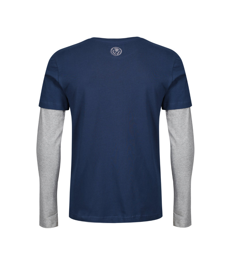 'Go Beyond Beyond' Heart Sutra inspired, navy & grey T-shirt showing the face of Buddha layered within the mountains