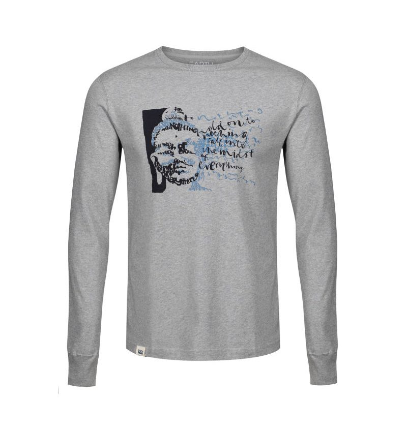 'Hold on to Nothing & Fall into the Midst of Everything,' Buddhist, calligraphy long sleeve T-shirt.