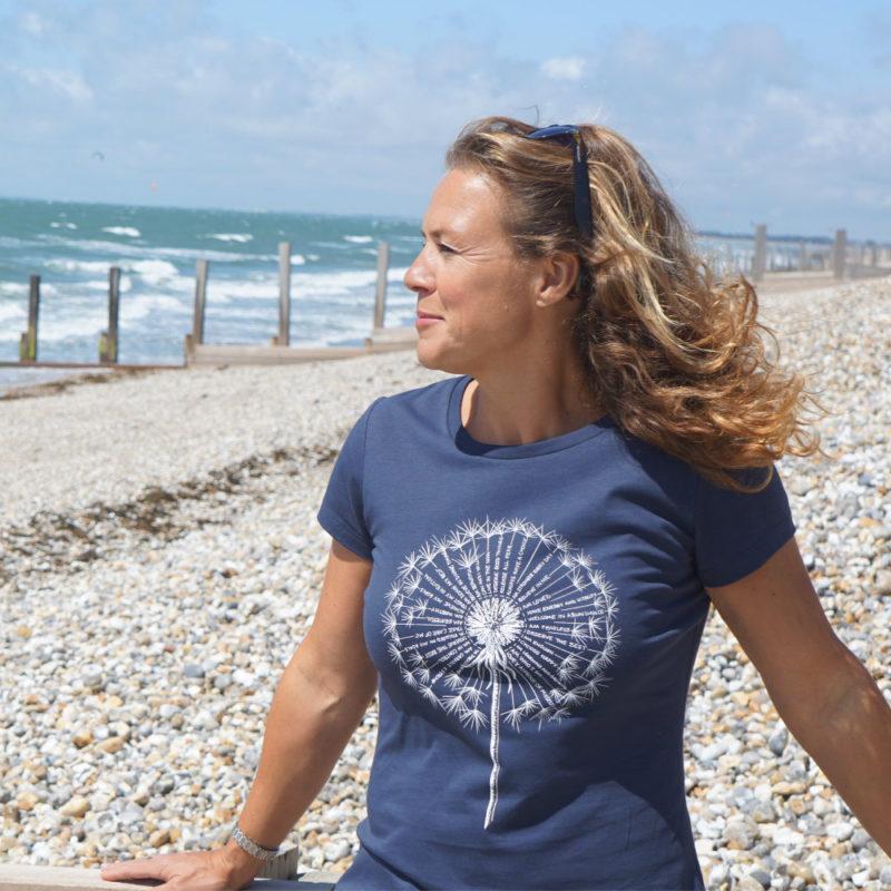 Dandelion affirmation, spiritual T-shirt in navy, organic cotton.