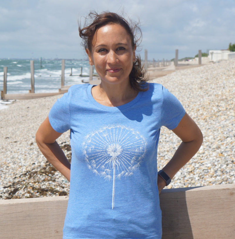 Dandelion affirmation T-shirt in heather blue, organic cotton.