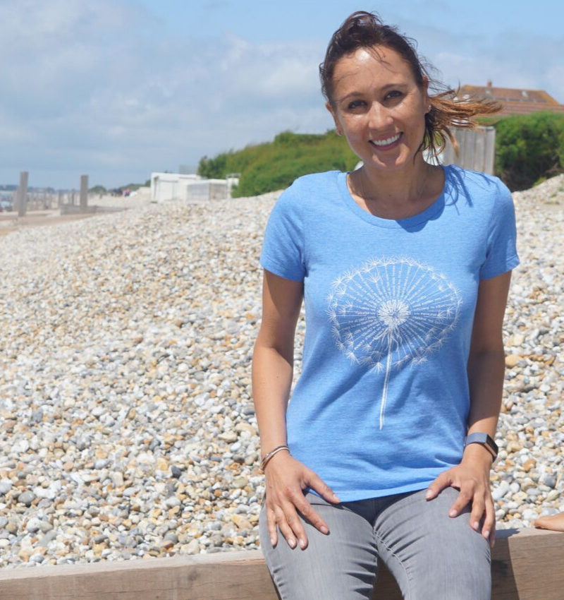 Dandelion affirmation T-shirt in heather blue, organic cotton.