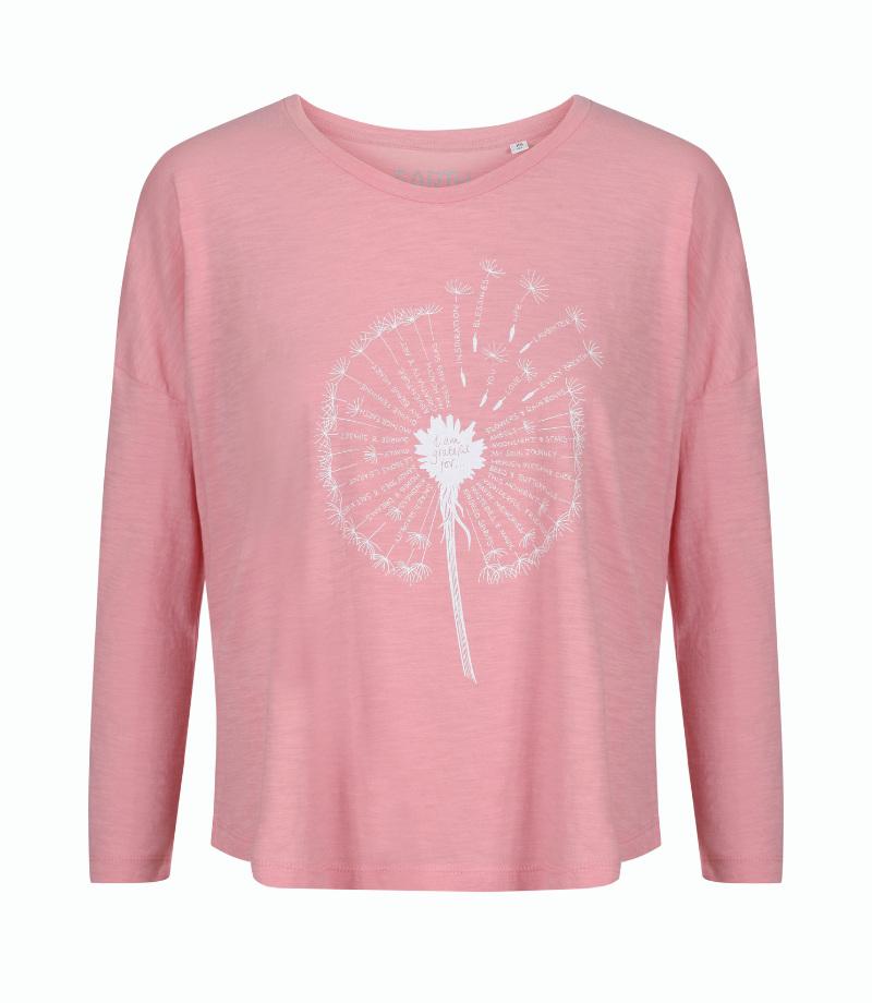 Gratitude dandelion 3/4 sleeve blush pink t-shirt