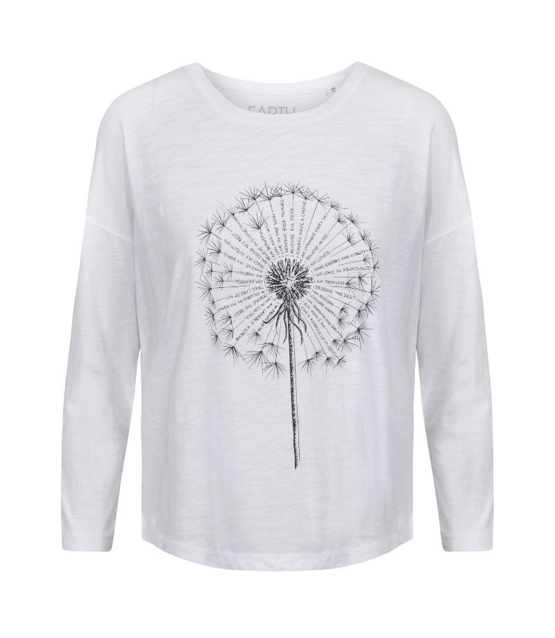 3/4 sleeve white spiritual t-shirt with a dandelion