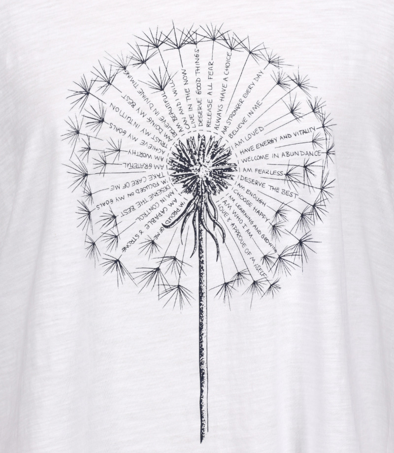 A dandelion with 40 affirmations drawn within the seeds on a spiritual, 3/4 sleeve white T-shirt
