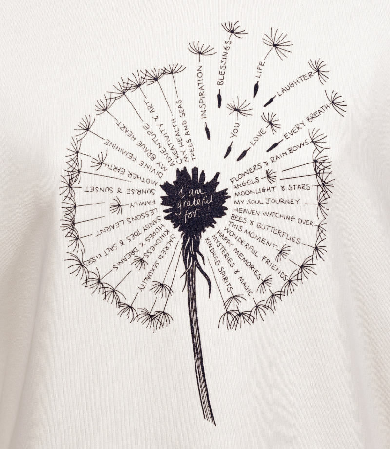 Gratitude dandelion, spiritual spiritual sweater in vintage white.